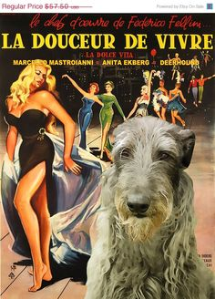 ON SALE Scottish Deerhound Vintage Movie Style by NobilityDogs, $54.50