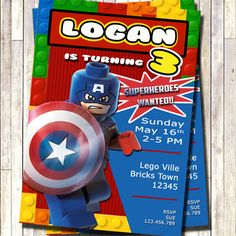 Lego Captain America Invitation, Lego superhero Invitation, Lego superheroes Invitation, Superheroes party, Lego Party by 3lileagles on Etsy