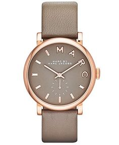 Marc by Marc Jacobs Watch, Women's Baker Gray Textured Leather Strap 37mm MBM1266 - First @ Macy's! - Marc by Marc Jacobs - Jewelry & Watches - Macy's
