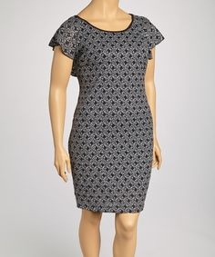 Take a look at this Black & White Floral Dress - Plus by Yummy on #zulily today!