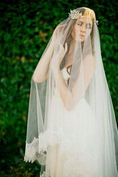 Lace Edged Drop Veil @Etsy.com