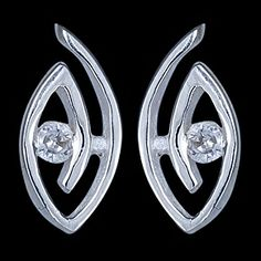 Silver earrings, CZ, oval  Silver earrings, Ag 925/1000 - sterling silver. With stones (CZ - cubic zirconia). Stud with friction back. An oval design set with a round zircon. Dimensions approx. 7x15mm. Price per pair.