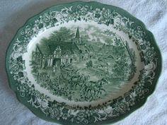 green transferware platter