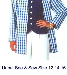 Uncut+Pattern+Size+12+14+16+Misses+Jacket+Top+and+Pants+Butterick+4857+See+&+Sew+Easy