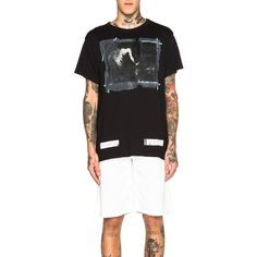 OFF-WHITE Caravaggio Annunciation Tee ($234) ❤ liked on Polyvore featuring men's fashion, men's clothing, men's shirts, men's t-shirts and graphic tees
