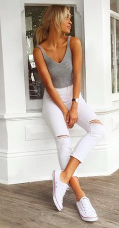 grey heather ribbed tank, high waited white ripped knee jeans, white converse, black watch outfit
