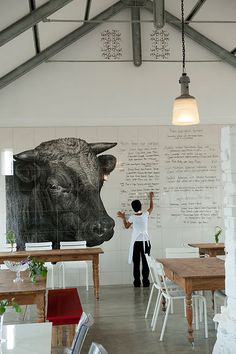 I WANT TO DO THIS IN MY PLAYROOM!!!! Minus the bull.... Great for spelling and WOW how fun... the 'no coloring on the walls' rule is OUT the window!!!! (and you can color on the window too!!)