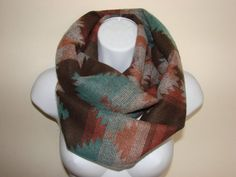 Aztec infinity scarf winter scarf fall scarf by OtiliaBoutique