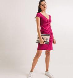 Húzott női ruha feketeribizli - Promod