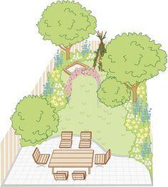 ideen f r einen reihenhausgarten clematis hibiscus and gardens. Black Bedroom Furniture Sets. Home Design Ideas