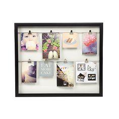 Black double clip line wooden photo frame
