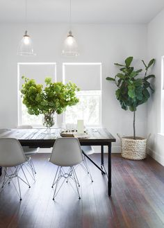 Industrial Table + Glass Pendants from west elm