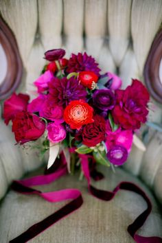bold red, purple, and pink bouquet | The Nichols