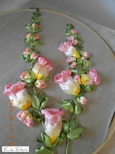 Wonderful Ribbon Embroidery Flowers by Hand Ideas. Enchanting Ribbon Embroidery Flowers by Hand Ideas. Ribbon Embroidery Tutorial, Silk Ribbon Embroidery, Crewel Embroidery, Embroidery Designs, Ribbon Art, Ribbon Crafts, Ribbon Flower, Silk Flowers, Fabric Flowers