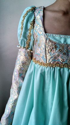Gold and Blue Medieval Girls Gown by LadyDoveCostumes on Etsy, $125.00