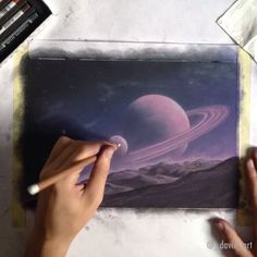 """""""Saturn Rise""""  This one was a challenge but I'm glad I didn't give up on it!  Enjoy 4 hours of work reduced to a minute.  _______________ Prints available (link in bio) What was used: Toison D'Or soft pastels and Faber-Castell pitt pastel pencils on canson pastel paper"""