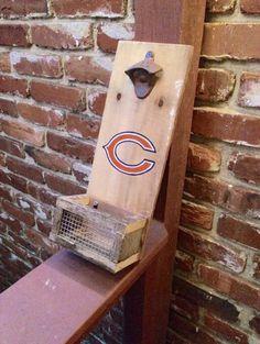 chicago bears inspired personalized bar sign, bears football,  beer bottle opener, custom wood bottle opener, wall mounted, cap catcher by OniontownRepurposed on Etsy