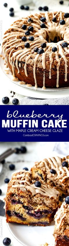 Blueberry Coffee Cake I've died and gone to heaven! This EASY Blueberry Muffin Cake is like a giant blueberry muffin and the Maple Cream Cheese Glaze is amazing! Everyone always asks me to make this for brunch! Blueberry Muffin Cake, Easy Blueberry Muffins, Blueberry Recipes, Blue Berry Muffins, Just Desserts, Delicious Desserts, Yummy Food, Muffin Cake Recipe, Muffin Recipes