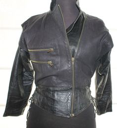 Vintage Real Leather 80's Biker Jacket small by TheBonjEmporium