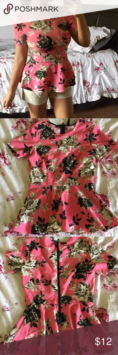 Pink Peplum Floral Shirt Zipper opening on back. Size 4 H&M Tops Blouses
