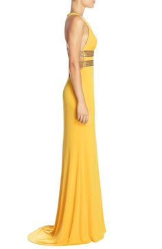 Free shipping and returns on Terani Couture Embellished Cutout Gown at Nordstrom.com. Glitzy beads and jewels spark the banded waistline of this lively yellow gown designed with a plunging V-neckline, slinky cutout racerback and floor-pooling train that makes for a dramatic exit.