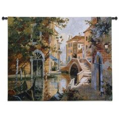 FineArtTapestries 2145-WH Venice Canal Wall Tapestry, Multicolor