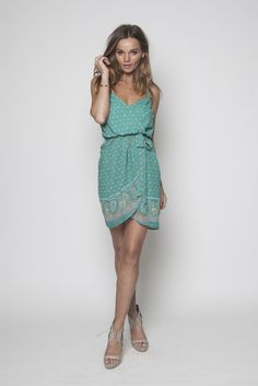 Paisley Green Braided Strap Wrap Dress. Stunning boho chic summer frock!