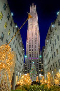 Rockefeller Center, de Nueva York ¡Feliz Navidad! Definitivamente voy a estar yendo allí durante algún día de Navidad.