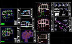 Bungalows dwg autocad drawing Cad Library, Villa Plan, Cad File, Steel Detail, Working Drawing, Modern Bungalow, Dressing Area, Study Rooms, Steel House
