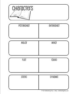 FREE Character Notebooking Pages for Middle School 6th Grade Reading, Middle School Reading, Middle School English, Teaching Literature, Teaching Writing, Writing A Book, Writing Notebook, Reading Lessons, Reading Strategies
