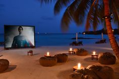 Fancy watching Man of Steel on a tropical island? Neoz Little Margarita at One & Only, Reethi Rah. Best Hotels In Maldives, Cordless Lamps, Landscape Architecture Design, Tropical Landscaping, Beach Resorts, One And Only, Travel Around, Scenery, Places To Visit
