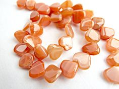 Peach Moonstone, Moonstone Hearts, Peach Heart Beads, Peach Gemstone, Gemstone Hearts, Natural Moonstone, UK Seller, Jewelry Supplies