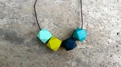 Geometric Wood Necklace  Hedron Necklace  Aqua by TheVintageAcorn, $23.00