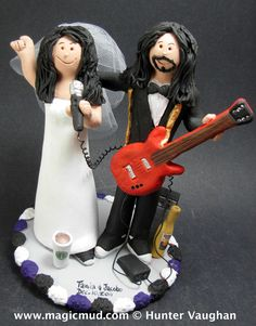 Guitarist and singer cake topper