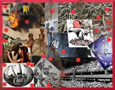 Los civiles son el blanco-La base es de  Eduardo Gallina, representa el rol de la escuela como motor de cambio. Sobre ella realicé un collage con los genocidios menos visibilizados. Traté de respetar el color original de las imágenes para que se notara que son retratos reales, pero utilicé algunos filtros. Usé el rojo en el dibujo del hombre que llora y en puntos aislados del fotomontaje, para simular la sangre vertida. Iluminé las palomas de la paz, para que sea el mensaje de salida.