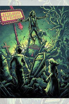 "halloween dibujos ""It's Showtime!"" by Dan Mumford Dark Fantasy Art, Film Tim Burton, Dan Mumford, Beetlejuice Movie, Horror Artwork, Horror Movie Characters, Michael Keaton, Horror Posters, Scary Art"