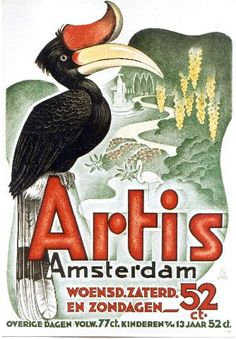 Artis Zoo Amsterdam. 1950 Poster. 52ct.