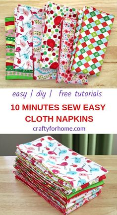 Easy sewing tutorials on how to make double-sided cloth napkins for fat quarters project, perfect for DIY table decor on holiday season and a fun homemade gift. Small Sewing Projects, Sewing Projects For Beginners, Sewing Hacks, Sewing Tutorials, Sewing Crafts, Sewing Tips, Crafts To Sew, Christmas Sewing Projects, Tutorial Sewing