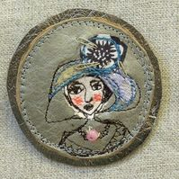 Marion in a soft hat Brooch