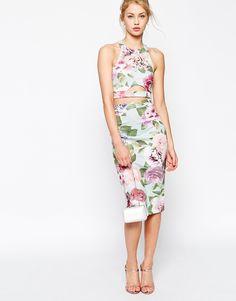 Image 1 ofASOS Vintage Rose Two Piece Bodycon Dress