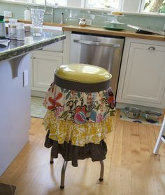 Want to pretty up a kitchen stool? Add a pretty skirt (kelly rae roberts)