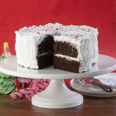 Holiday Chocolate Peppermint Cake Chocolate Cake, Gluten & Dairy Free. Fluffy Peppermint Frosting. Festively delicious.
