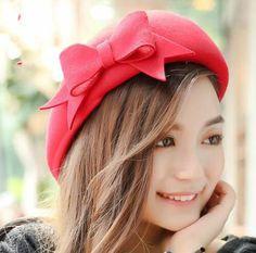 Winter bow beret hat for women warm wool hats