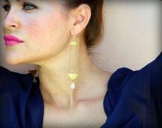 Gold Triangle Hammered Earrings #earrings #jewelry