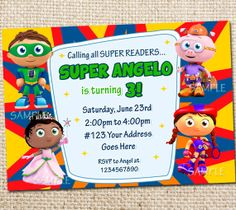 11 best super why party images on pinterest super why party super super why birthday party invitation printable by wittyparties 800 birthday party invitations 3rd birthday filmwisefo