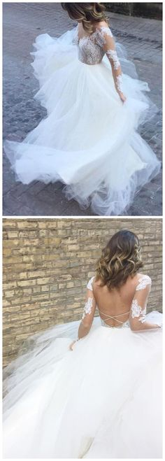A-LINE SCOOP WEDDING DRESS WITH LACE LONG SLEEVE OPEN BACK WEDDING DRESS M4553