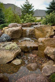 43 Stunning Garden Pond Waterfall Design Ideas - Home/Decor/Diy/Design Diy Water Feature, Backyard Water Feature, Ponds Backyard, Backyard Waterfalls, Garden Ponds, Koi Ponds, Garden Art, Outdoor Water Features, Water Features In The Garden
