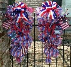 Memorial Day, 4th of July, Labor Day or All Year long Door Swags (wreaths) in…