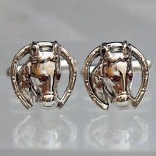 Horse Cufflinks Sterling silver 925 red genuine ruby eye Hand Made 3D Lot 717