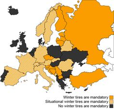 Winter tire laws in Europe.